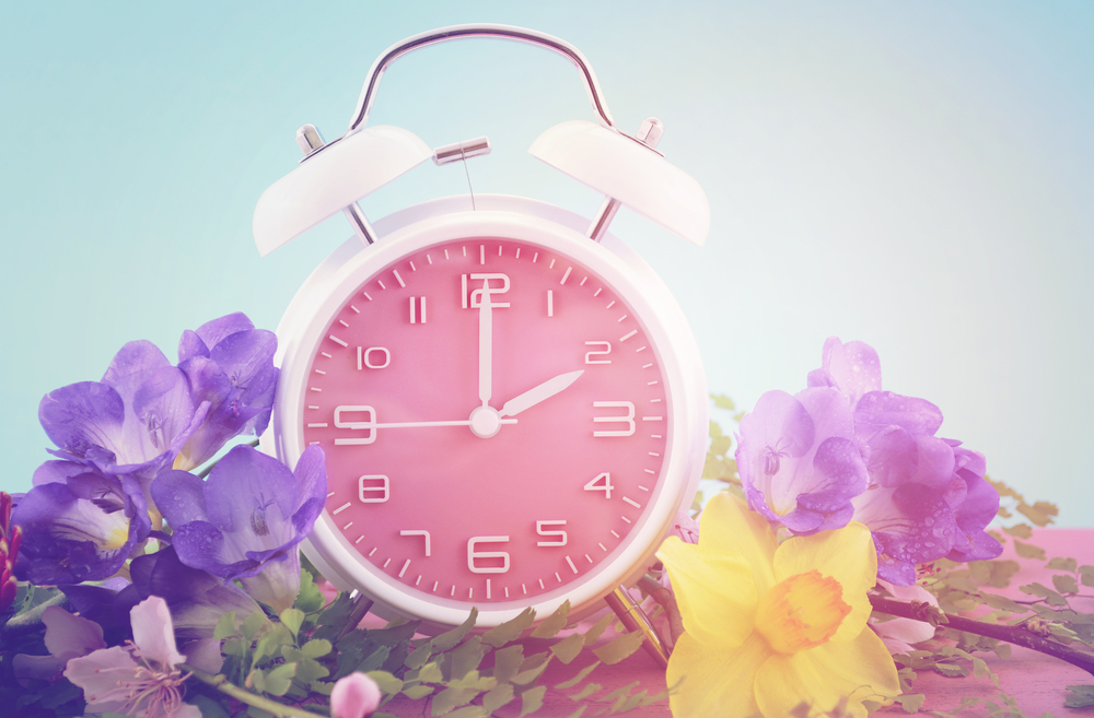 clock with spring flowers